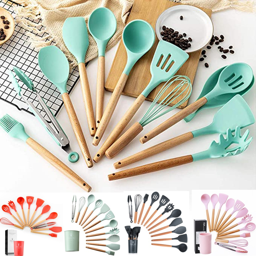 Silicone Cooking Utensil Set Non-stick Spatula Shovel Wooden Handle Cooking Tools Set With Storage Box Kitchen Tools Kitchenware