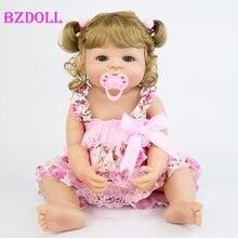 55cm Realista Cheio de Silicone Boneca Reborn Vinil Princesa Presente de Aniversário Meninas Brincar de Casinha de Brinquedo Bebê Recém-nascido Bebe Vivo Se Banhar brinquedo