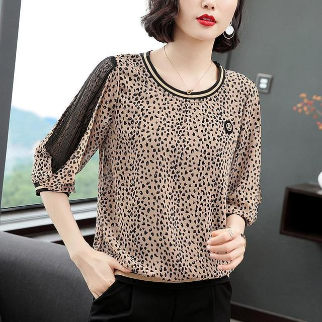 New Women Spring Summer Blouses Shirt Women Casual O-Neck Hollow Out Leopard Blouses Loose Tops High Quality K34 5