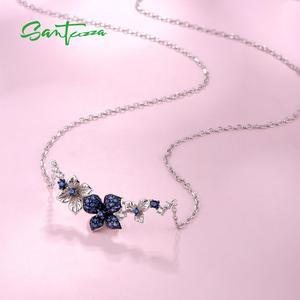 Image 3 - SANTUZZA כסף שרשרת לאישה אמיתי 925 כסף סטרלינג אלגנטי פרפרי שרשרת כחול לבן CZ המפלגה תכשיטים