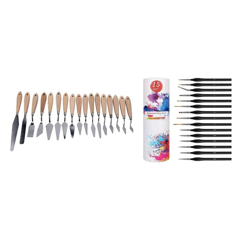 17PCS/Set Color Palette Spatula Paint Professional Tool with 15Pcs Miniature Paint Brush Detail Paint Brushes Set