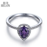 HELON 925 Sterling Silver 7x5mm Pear cut 100% Genuine Natural Amethyst & Diamonds Wedding Ring Exquisite Fine Jewelry Women