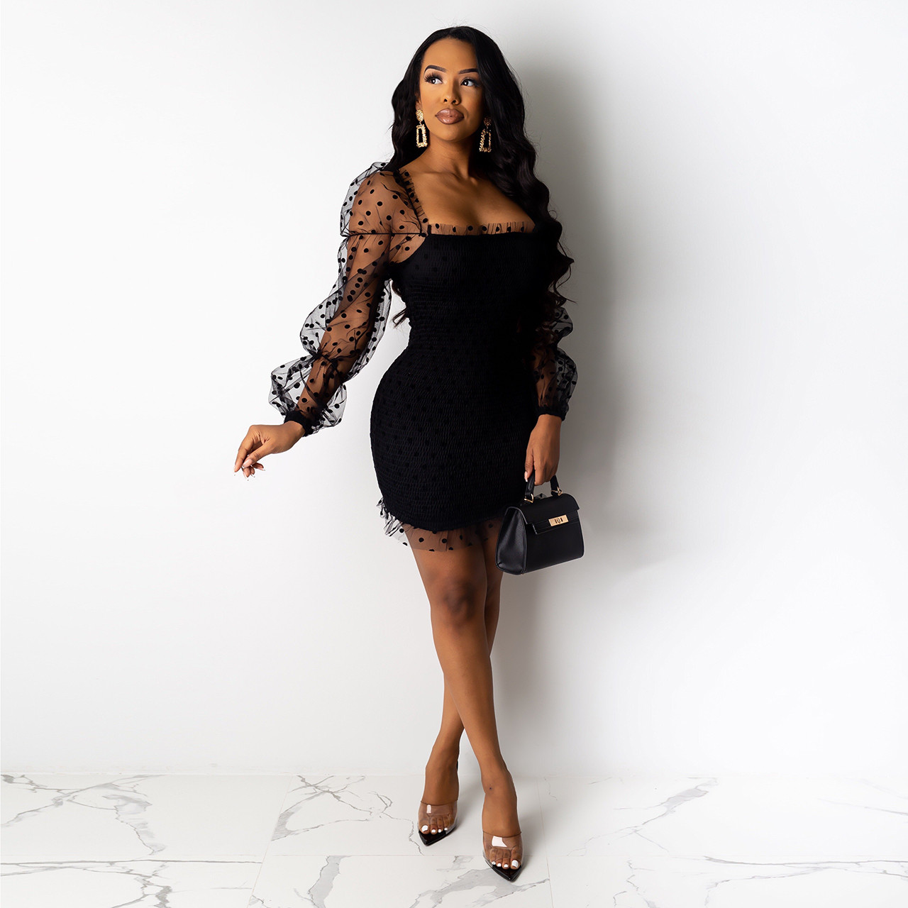 Wjustforu Strapless Sexy Sheer Mesh Mini Dress For Women Black Elegant Skinny Party Dreses Female Sleeveless Casual Short Dress Dresses Women's Clothing & Accessories