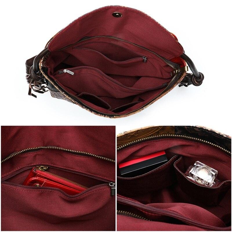 WESTAL Patchwork sacs à dos pour femmes sacs d'école en cuir véritable pour adolescent sac à dos pour ordinateur portable sac à bandoulière femme école sac à dos - 5