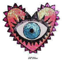 Listras feitas sob encomenda do remendo do bordado do applique na roupa o ferro colorido grande do remendo dos olhos do coração em remendos da lantejoulas para a roupa