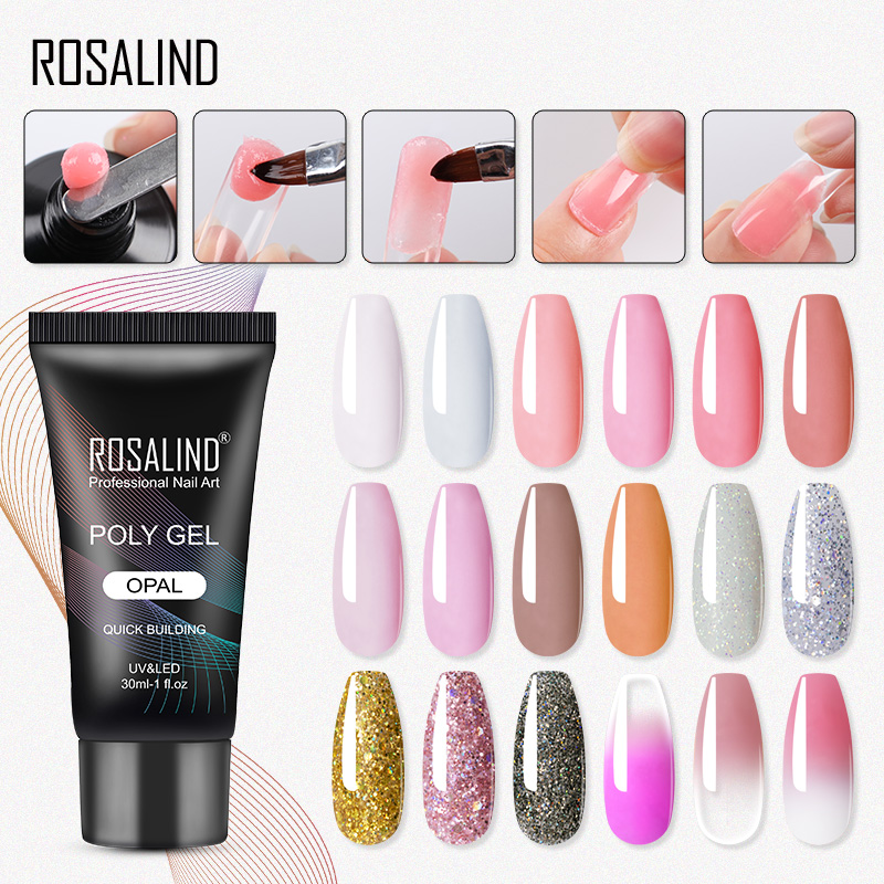 ROSALIND Poly Gel For Nails Extensions Finger Nail Art Manicure Acryl Gel Varnish Hybrid 30ML Polygel Nail Polish