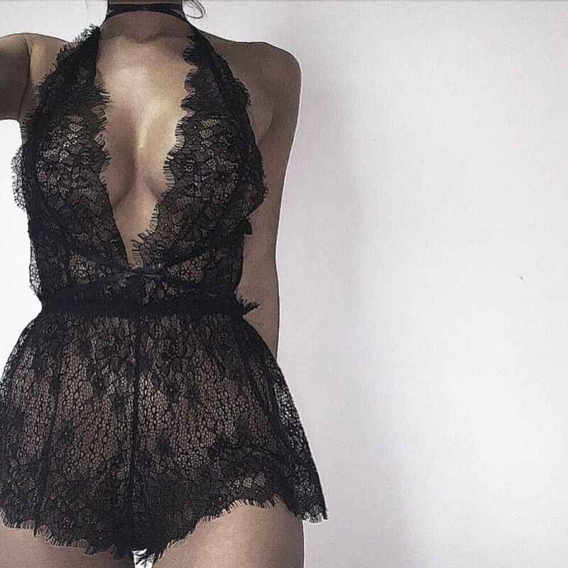 새로운 스타일 여성 테디 섹시한 레이스 딥 브이 넥 Nightwear g-문자열 Babydoll 잠옷 레이스 퓨어 컬러 이국적인