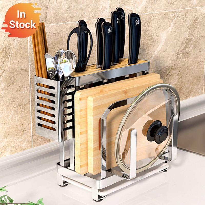 304 Stainless Steel Kitchen Drying Rack Chopsticks Knife Cutting Board Organizer Lid Pot Stand Plate Holder Kitchen Drain Shelf