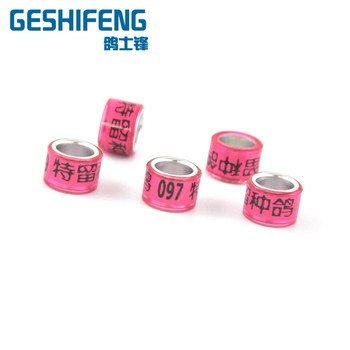 Color aluminum racing pigeon foot rings with serial number for sale