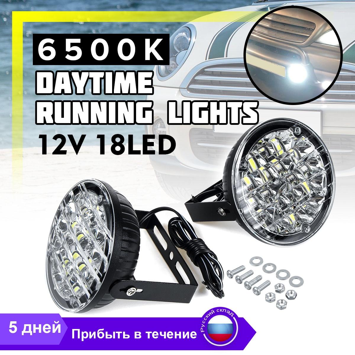 2x High Brightness Bulbs Car Daytime Running Light 18 LEDs Bar DRL