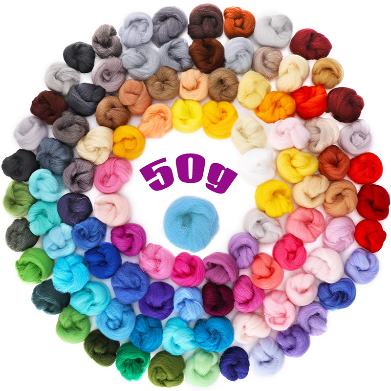 MIUSIE Mix Colors Sheep Felting Wool Fibre Flower Animal Soft Roving Wool Needle Handmade Spinning Craft Felting Materials 50g