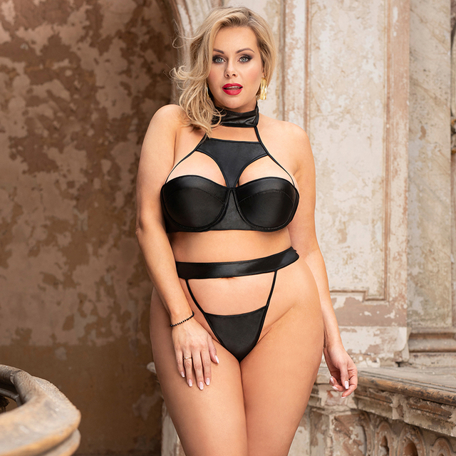 Sexy 2 Piece Lingerie Set Strapless Leather Choker Black Plus Size #F1625 2