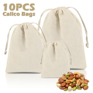 10pcs/set Cotton Drawstring Bag Reusable Handmade Linen Bag Small Shopping Coin Travel Storage Small Christmas Gift Pouch