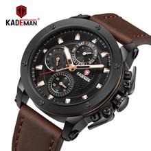 KADEMAN Men Watch Waterproof Functional Sports Quartz Watches Top Brand Fashion Military Leather Wristwatch Relogio Masculino