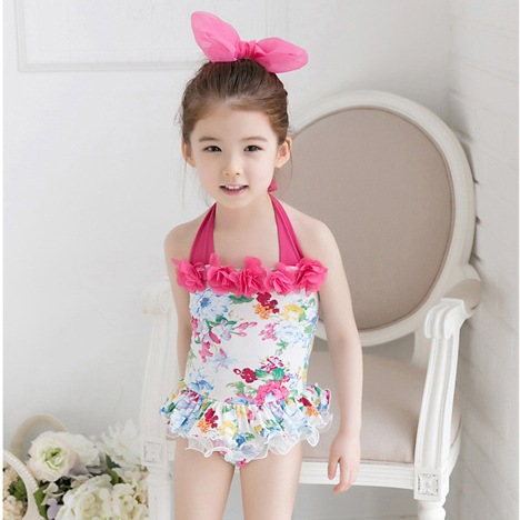 KID'S Swimwear Girls Baby Small CHILDREN'S South Korea GIRL'S One-piece Swimming Suit Floral-Print Korean-style Bathing Suit Tut