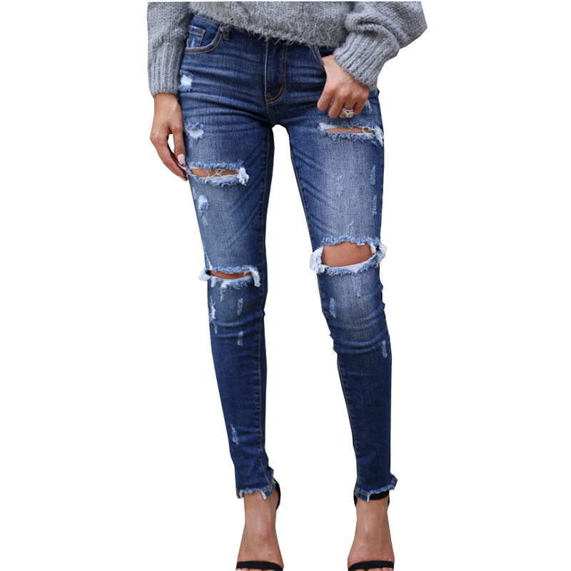 European American Quality Women's Jeans Fashion Cotton Elasticity Bullet Hole Slim White Grinding Craft Slim Feet Trousers Women