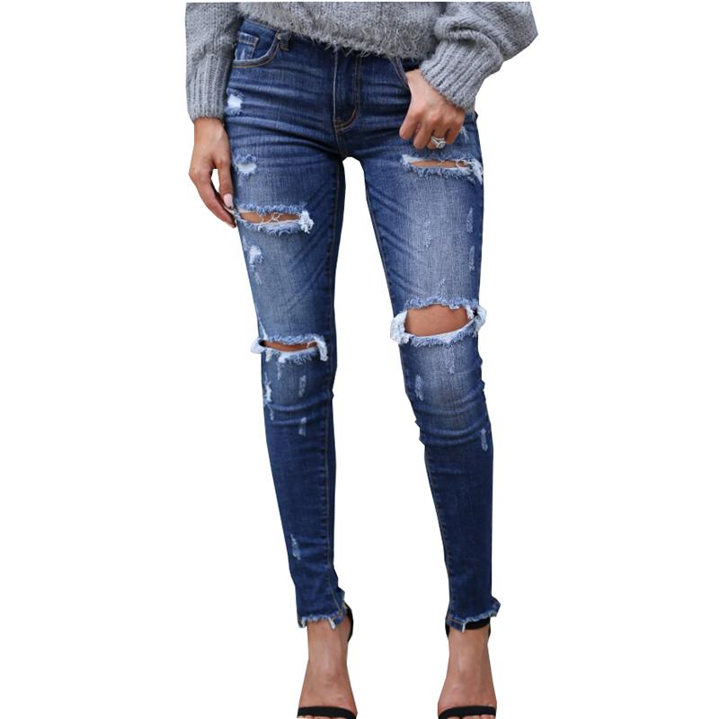 European American Quality Women's Jeans Fashion Cotton Elasticity Bullet Hole Slim White Grinding Craft Slim Feet Trousers Women