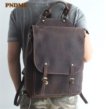 PNDME vintage simple anti-theft genuine leather men's backpack high quality designer crazy horse cowhide big computer bagpack