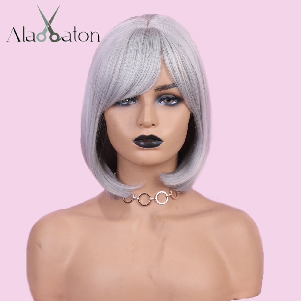 Image 2 - ALAN EATON Wigs Short Bobo Cosplay Wigs with Bangs Straight Silver Grey Synthetic Hair Perucas for Women Heat Resistance FiberSynthetic None-Lace  Wigs   -