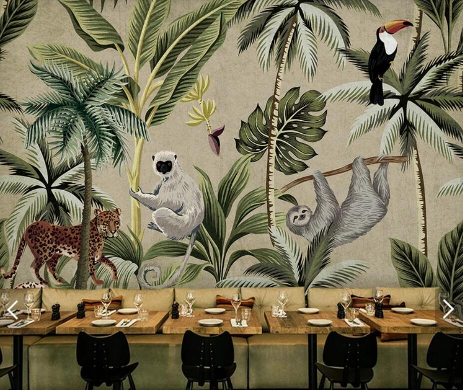 Southeast Asia Toucan Monkey Tropical Wallpaper Mural For Living Room Hand Painted Contact Paper Murals Wall Paper 3d Customize