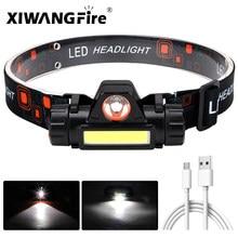 Mini lampe frontale Portable à Led Q5 + COB, puissante batterie 18650 intégrée, lumière à intensité réglable en continu, pour Camping et pêche