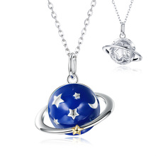 2019 Unique 100% 925 Sterling Silver Galaxy Planet Necklace Blue Enamel Star Moon Design fine Jewelry for women free shipping цена