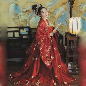 Image 2 - Red Hanfu Dress Folk Dance Costume Chinese Traditional National Fairy Costume Ancient Han Dynasty Princess Stage Outfits SL1719