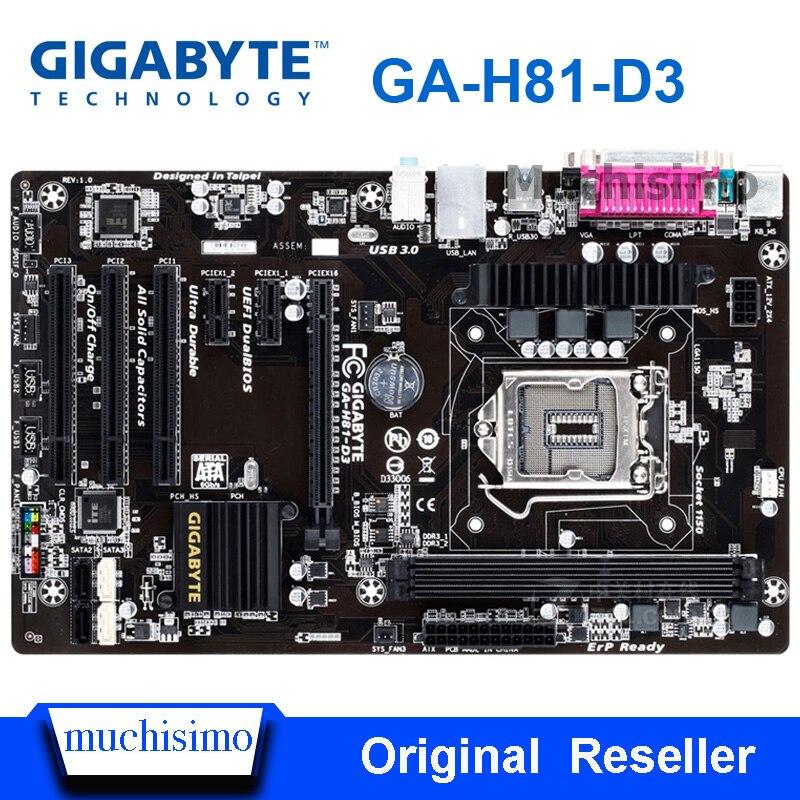 Original Motherboard Gigabyte GA-H81-D3 LGA 1150 DDR3 H81-D3 For I3 I5 I7 16GB USB3.0 H81 Desktop Mainboard Refurbished