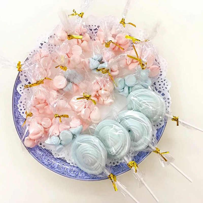 100 unids/pack celofán transparente clara bolsa de bolsas de plástico OPP para Candy Lollipop Cookie embalaje de regalo de fiesta de boda bolsa