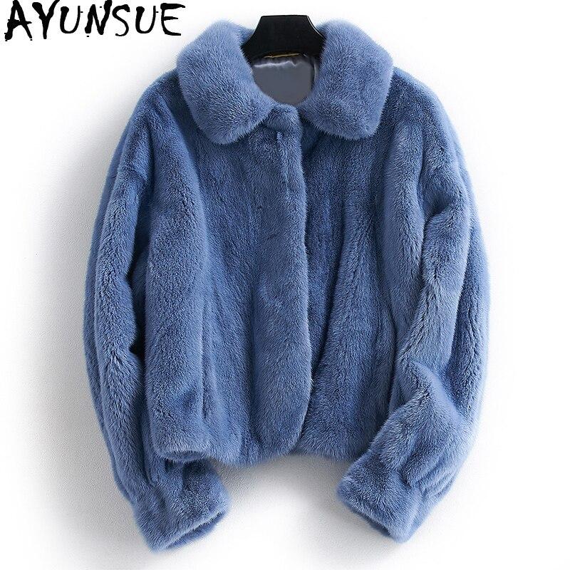 Abrigo de piel de visón Real AYUNSUE chaquetas de piel Natural de lujo para Mujer Chaqueta de invierno ropa de Mujer 2019 abrigo corto cálido Chaqueta Mujer mi