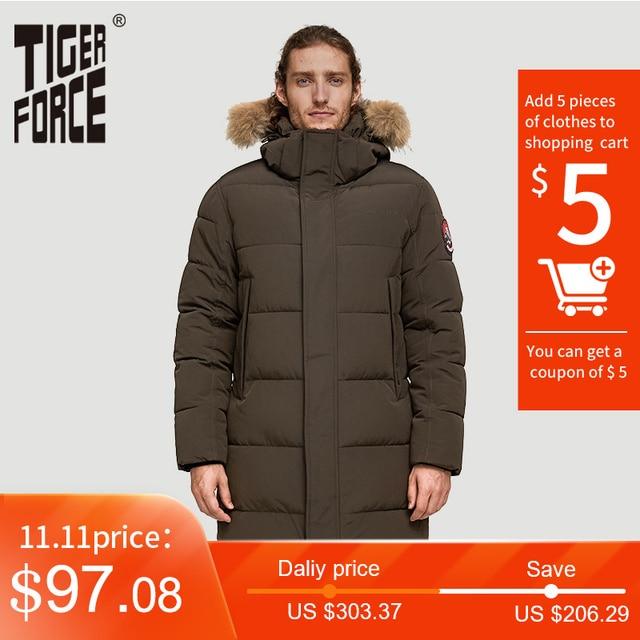 TIGER FORCE Alaska Jacket Men Winter Jacket Parka Men Alaska Coat Detachable Hooded MenS Winter Coat Artificial Fur Thicken