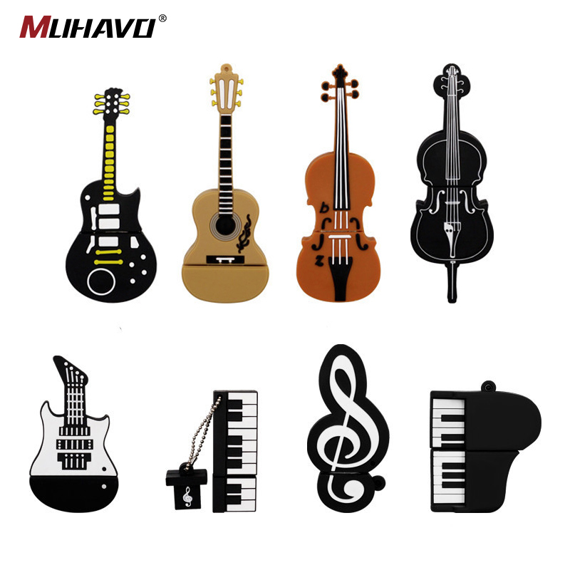 Music Note Usb Flash Drive Musical Instrument Pen Drive 128gb 64gb 32gb Usb Flash Cartoon Memory Stick U Disk Gift Pendrive 16gb