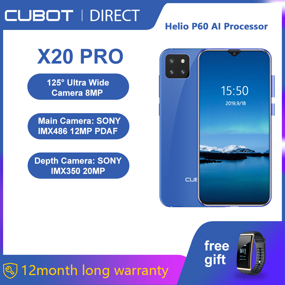 """Cubot X20 Pro Smartphone 6.3"""" FHD+Waterdrop Screen 6GB+128GB Android 9.0 AI Mode Triple Camera Face ID Cellura Helio P60 4000mAh-in Cellphones from Cellphones & Telecommunications"""