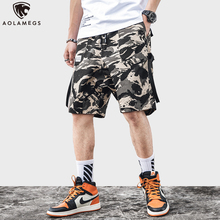 Aolamegs Men shorts Japanese Retro Cargo Loose shorts Hip Hop Harajuku Multi-Pocket Casual Pants Fashion Summer Streetwear M-3XL