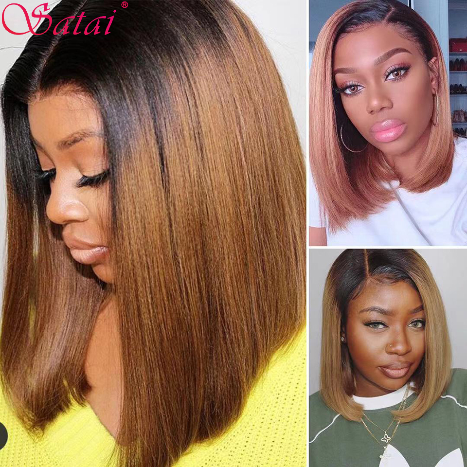 Satai Short Bob Wigs Lace Front Human Hair Wigs 13x4 Human Hair Wigs Brazilian Remy Bob