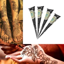 1PC Black Ink Color Henna Tattoo Paste Indian Waterproof Tattoo Mehndi DIY Drawing Body Paint Art Cream Cone