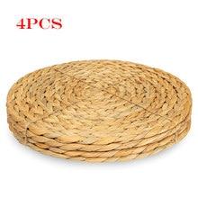 Napperon rond tissé en Rotin avec gourde d'eau naturelle, tapis de table, dessous de plat, Rotin vert, ensemble de mariage Tropical, 4 pièces