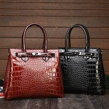 Яркая поверхность женская сумка из крокодиловой кожи большая сумка Европейская и американская мода с пряжкой на плечо портфель стиль