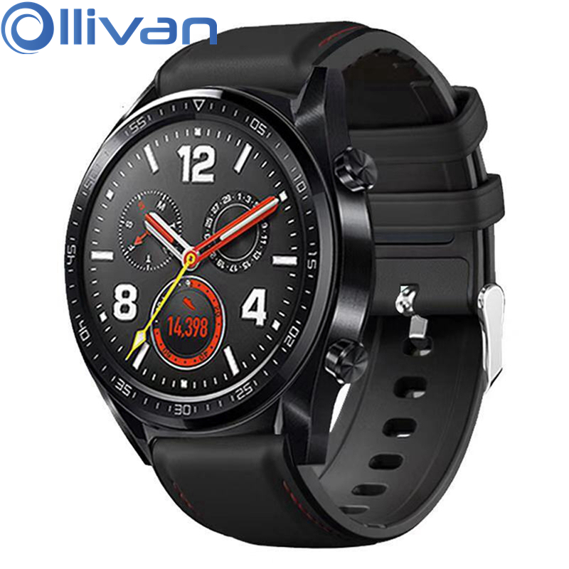 OLLLIVAN 22MM Leather Wrist Strap For Xiaomi Amazfit GTR 47 Stratos 2 2S Pace Strap Black Band For Huawei Watch GT Bands Silicon