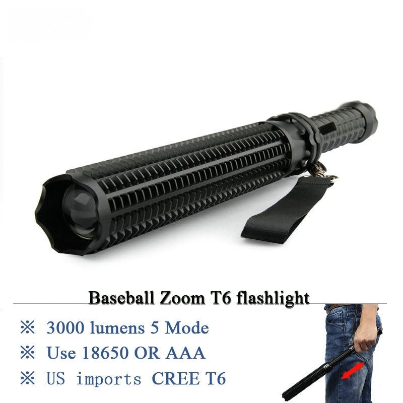Mace Baseball Self-defense Led Flashlight Cree T6 Powerful Hunting Light 18650 Extensible Defense Led Torch Telescopic Lantern