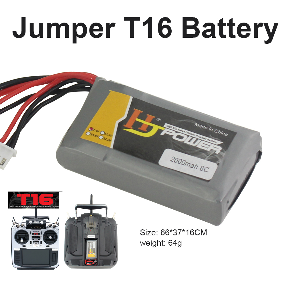 Transmitter <font><b>Lipo</b></font> Battery <font><b>2000MAH</b></font> <font><b>2S</b></font> 7.4V for Jumper T16 Remote Control Special Designed for T16 image