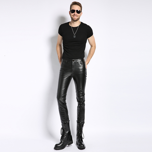 Plus Size 6XL Mens Pantalon Autumn 2020 New Fashion Real Leather Trousers Motorcycle Casual Slim Fleece Lining Warm Pants Male 5