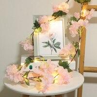 Guirnalda de luces artificiales con Hortensia, guirnaldas de luces LED de cobre de 2M con batería para decoración de bodas, Navidad, fiestas y eventos