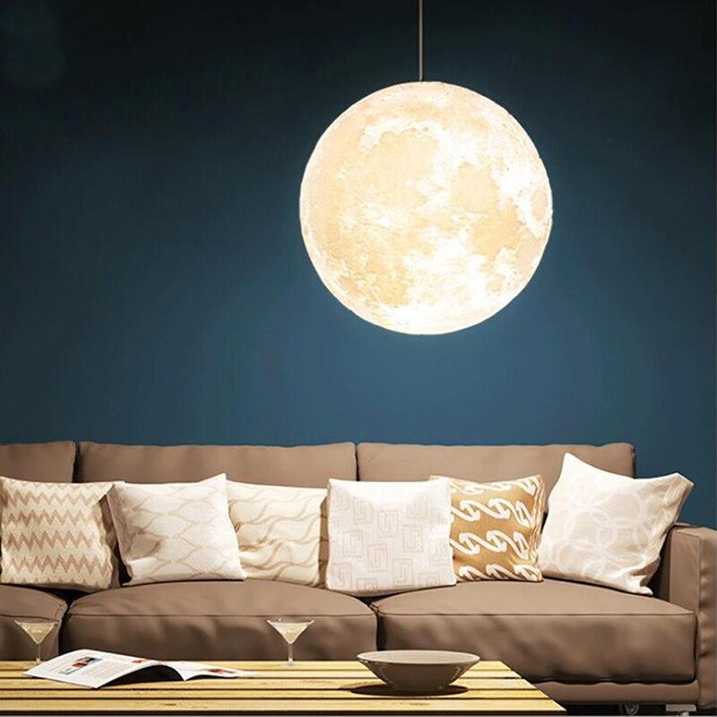 Modern 3D Print Moon Lamp Pendant Lights PLA Children Room Hanging Lamp De Bedroom Lighting Living Room Pendant Lamp Luminaire - 4