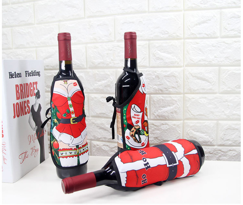1PC Wine Bottles Cover Apron Style Christmas Santa Wine Table Bottle Covers Bag Wrap Xmas Party Dinner Table Decor for Home