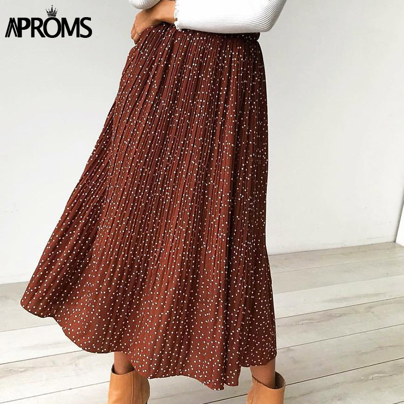 Aproms White Dots Floral Print Pleated Midi Skirt Women Elastic High Waist Side Pockets Skirts Summer 2020 Elegant Female Bottom