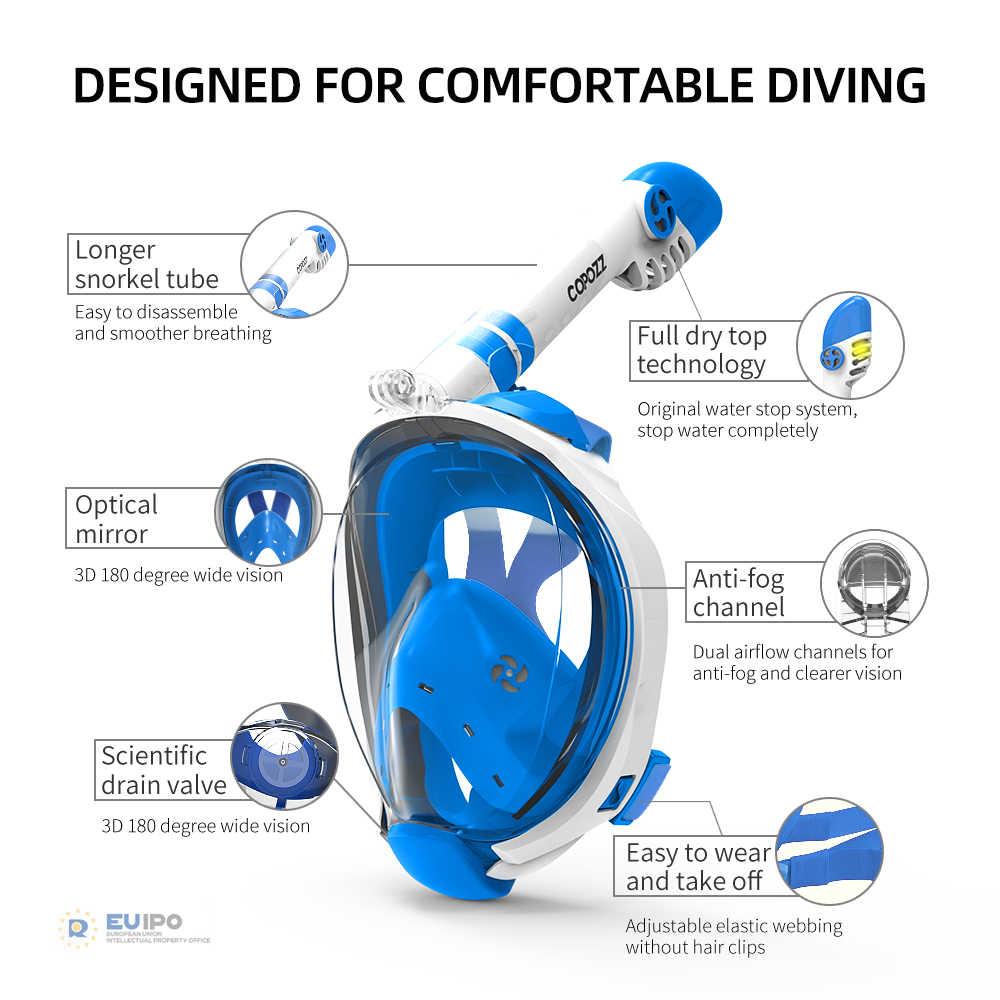 Copozz Mặt Nạ Lặn Trẻ Em Kính Lặn Dưới Nước Lặn Biển Mặt Nạ Bơi Lặn Ống Thở Thiết Bị Cho Người Lớn Tuổi Trẻ