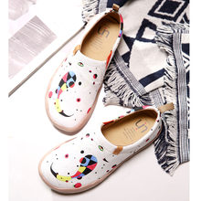 UIN Fishes Design Painted Women Casual Flats White Canvas Shoes Easy Slip-on Travel Sneakers Ladies Loafers Super Lightweight(China)