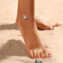 Bohimia żółwie morskie Anklet Vintage dla kobiet Summer Beach bransoletka BOHO na nogawkach łańcuszek Foot Anklets Jewelry