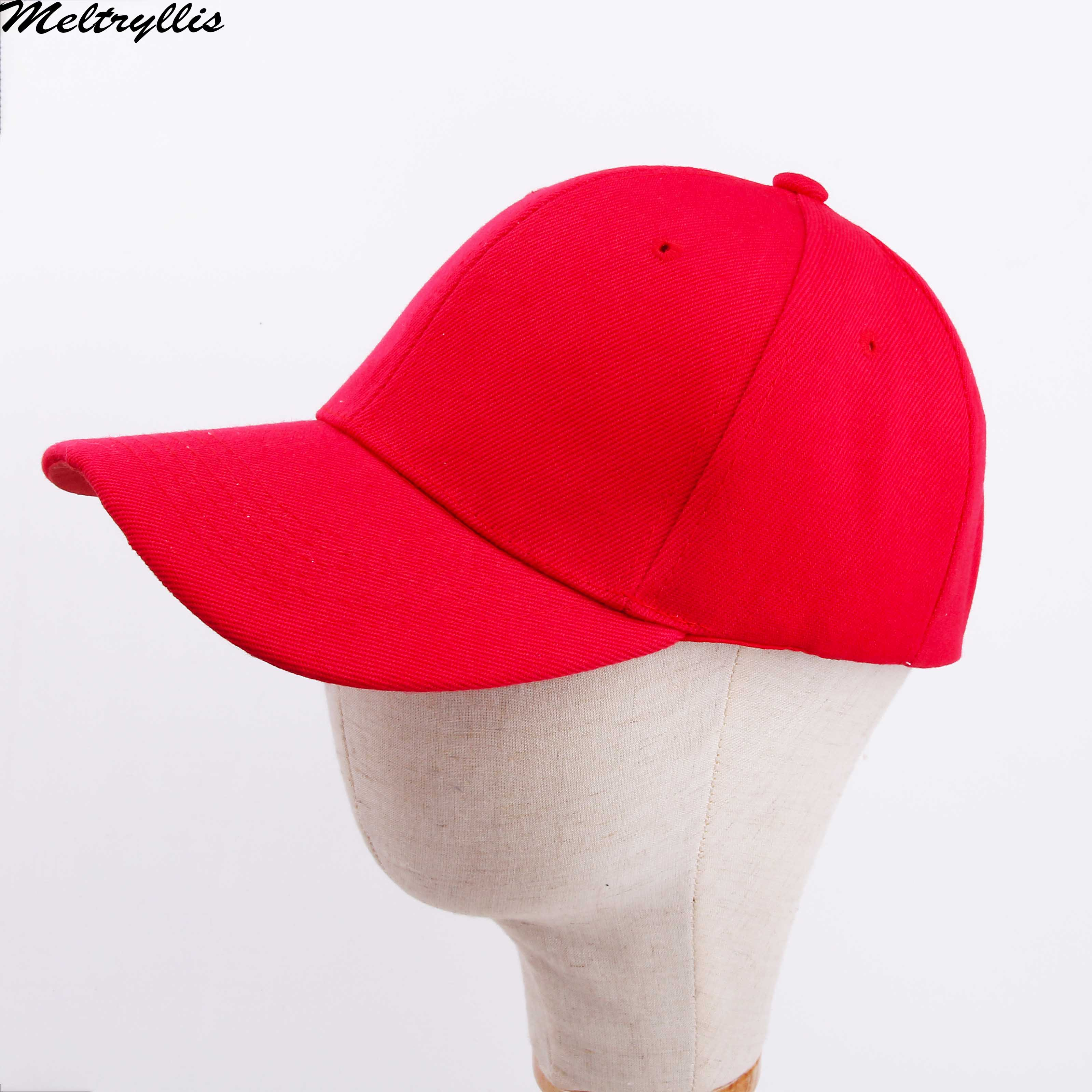[Meltryllis] 100% Cotton Unisex Fahsion Baseball Cap Solid Color Red Hat Adjustable High Quality Mens Women Outdoor Sun Cap